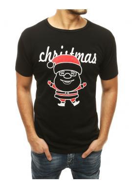 Čierne klasické tričko s vianočným motívom pre pánov