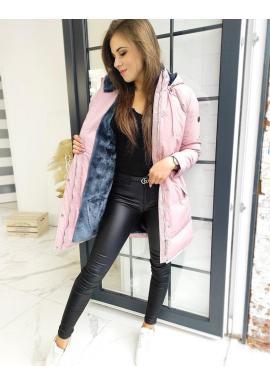 Ružová prešívaná bunda s odopínacou kapucňou pre dámy