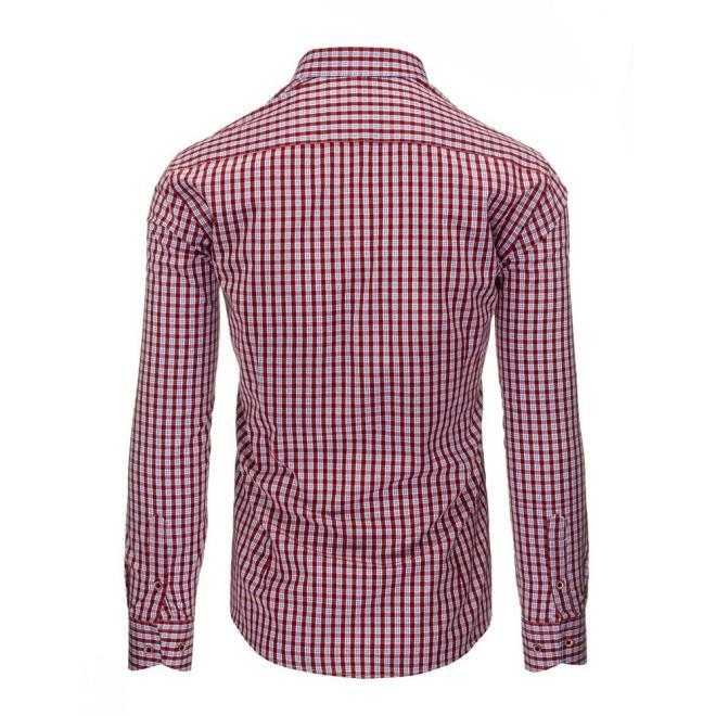 Červeno-biela pánska košeľa so záplatami na lakťoch
