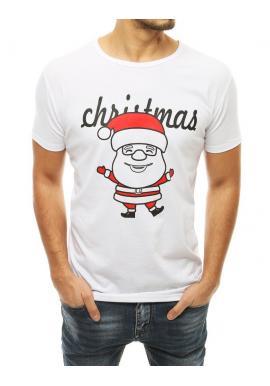 Pánske klasické tričká s vianočným motívom v bielej farbe