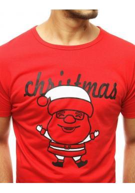 Klasické pánske tričko červenej farby s vianočným motívom