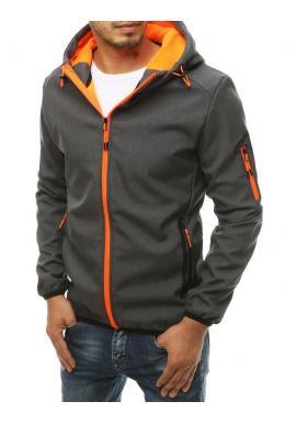 Pánska softshellová bunda s kapucňou v tmavosivej farbe