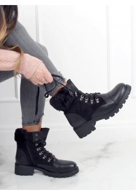 Čierne módne čižmy s ozdobnou kožušinou pre dámy
