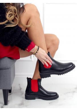 Členkové dámske topánky čiernej farby s červenými vložkami