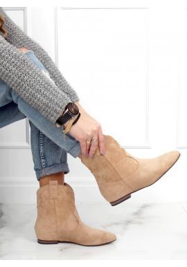 Béžové semišové topánky so širokým zvrškom pre dámy