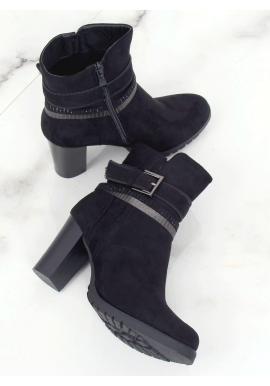 Čierne elegantné čižmy na stabilnom podpätku pre dámy