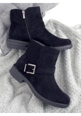 Dámske členkové topánky s prackou v čiernej farbe