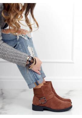 Členkové dámske topánky hnedej farby s prackou