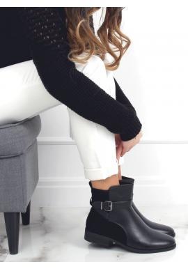 Čierne členkové topánky s prackou pre dámy