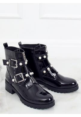 Lakované dámske topánky čiernej farby s perlami