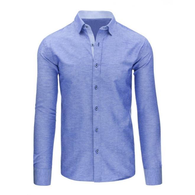Pásikavá elegantná košeľa modrej farby pre pánov