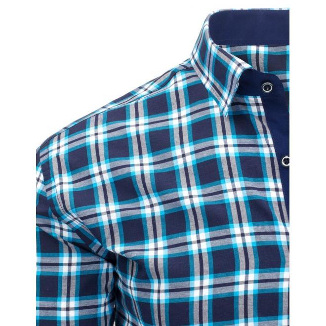 Kockovaná pánska košeľa v červeno-modrej farbe