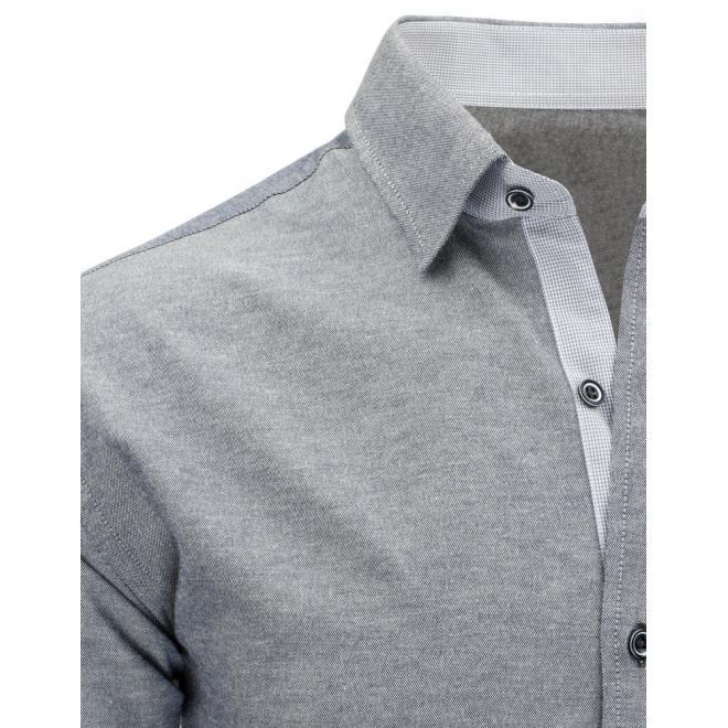 Károvaná modrá košeľa pre pánov s dlhým rukávom