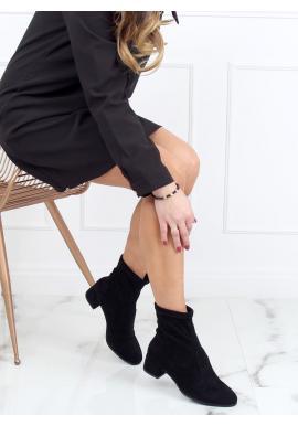 Semišové dámske topánky čiernej farby so širokým opätkom