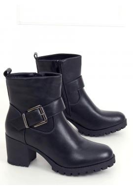 Čierne členkové čižmy na širokom podpätku pre dámy