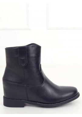 Dámske jesenné topánky na skrytom opätku v čiernej farbe