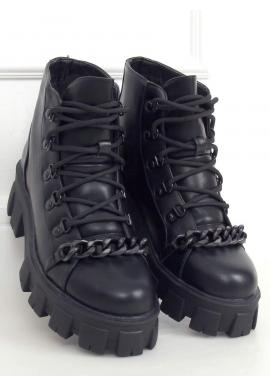 Členkové dámske topánky čiernej farby s vysokou podrážkou