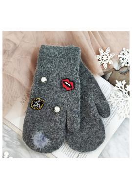 Dámske zimné rukavice s perlami a ozdobami v tmavosivej farbe
