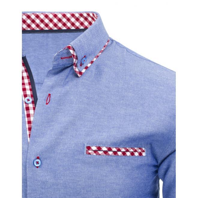 Elegantná modrá košeľa s károvaným detailom