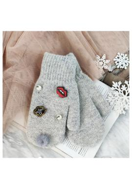 Sivé zimné rukavice s perlami a ozdobami pre dámy