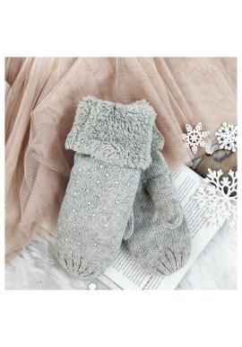 Sivé teplé rukavice s kamienkami pre dámy