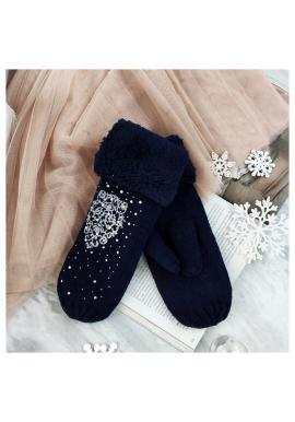 Dámske teplé rukavice s kamienkami v tmavomodrej farbe