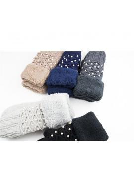 Tmavosivé teplé rukavice s perlami pre dámy