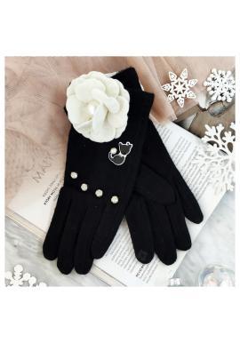Dámske zimné rukavice s mačkou a kvetom v čiernej farbe