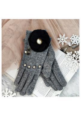 Zimné dámske rukavice sivej farby s mačkou a kvetom