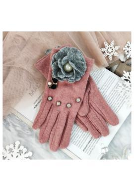 Ružové zimné rukavice s mačkou a kvetom pre dámy