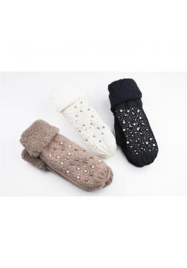 Dámske teplé rukavice s perlami a kamienkami v hnedej farbe