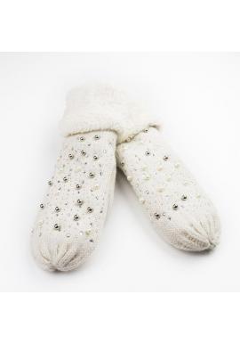 Teplé dámske rukavice krémovej farby s perlami a kamienkami
