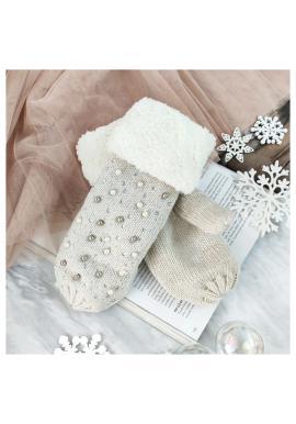 Béžové teplé rukavice s perlami a kamienkami pre dámy