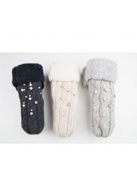 Dámske vlnené rukavice s perlami v bielej farbe