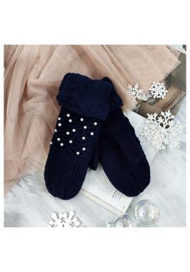 Teplé dámske rukavice tmavomodrej farby s perlami