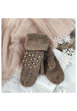 Dámske teplé rukavice s perlami v hnedej farbe