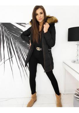Dámska zimná bunda s opaskom v čiernej farbe