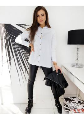 Biela asymetrická košeľa s lemom na chrbte pre dámy