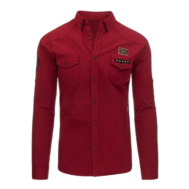 Čierna štýlová košeľa pre pánov s dlhým rukávom