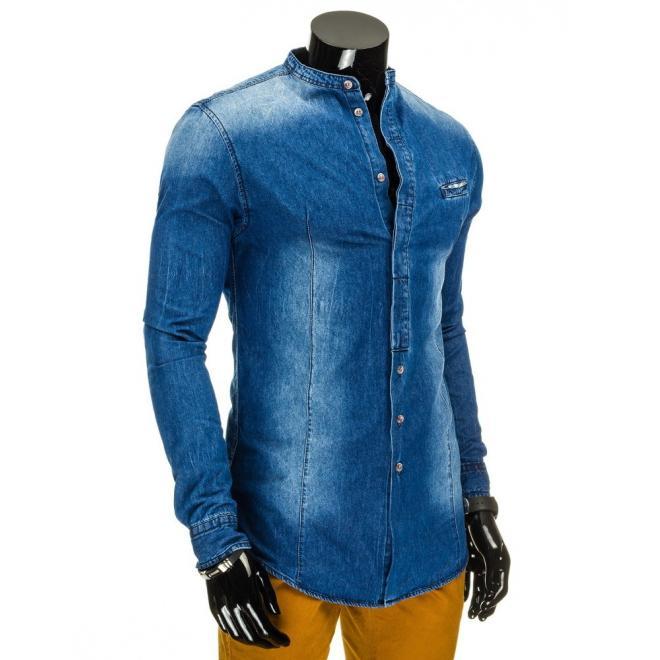 Štýlová džínová košeľa pre pánov v tmavomodrej farbe