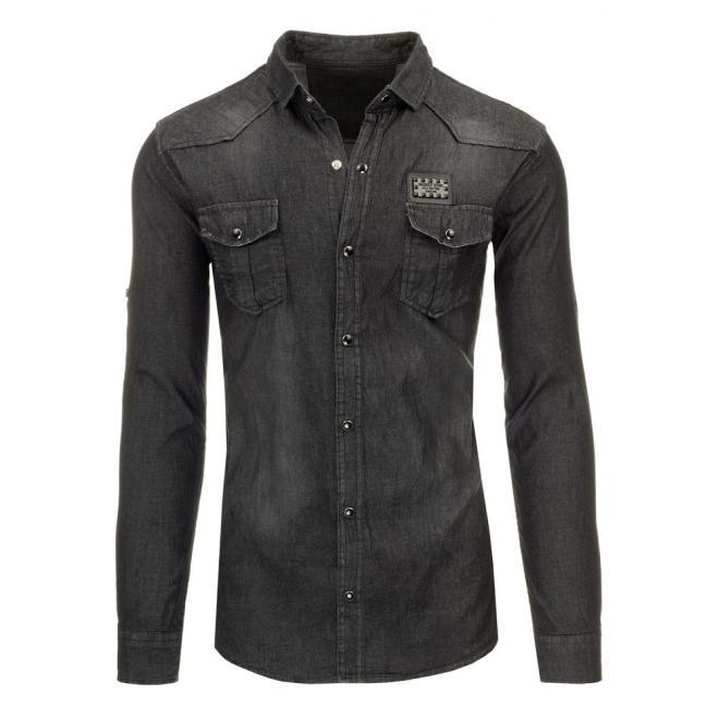 Pánska košeľa čiernej farby v džínovom vzhľade