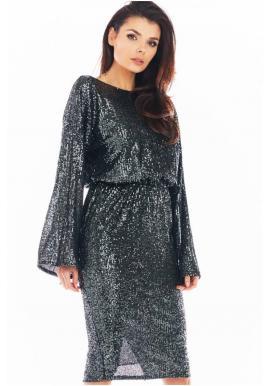 Dámske flitrové šaty s odhaleným chrbtom v tmavosivej farbe