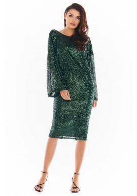 Zelené flitrové šaty s odhaleným chrbtom pre dámy