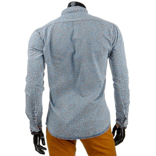 Štýlová džínová košeľa v modrej farbe so vzorom