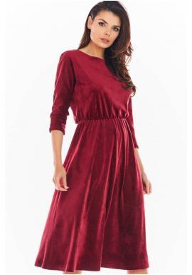 Bordové velúrové midi šaty s 3/4 rukávom pre dámy
