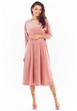 Dámske velúrové midi šaty s 3/4 rukávom v ružovej farbe