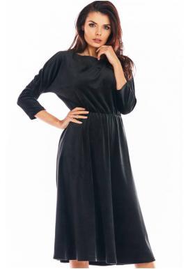 Čierne velúrové midi šaty s 3/4 rukávom pre dámy