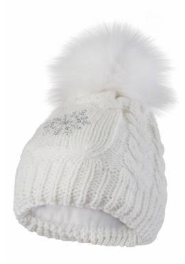 Dámska vlnená čiapka s pompónom v bielej farbe