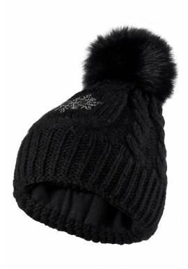 Čierna vlnená čiapka s pompónom pre dámy