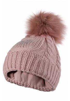 Dámska vlnená čiapka s pompónom v ružovej farbe